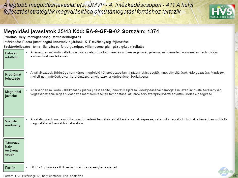Megoldási javaslatok 35/43 Kód: ÉA-9-GF-B-02 Sorszám: 1374