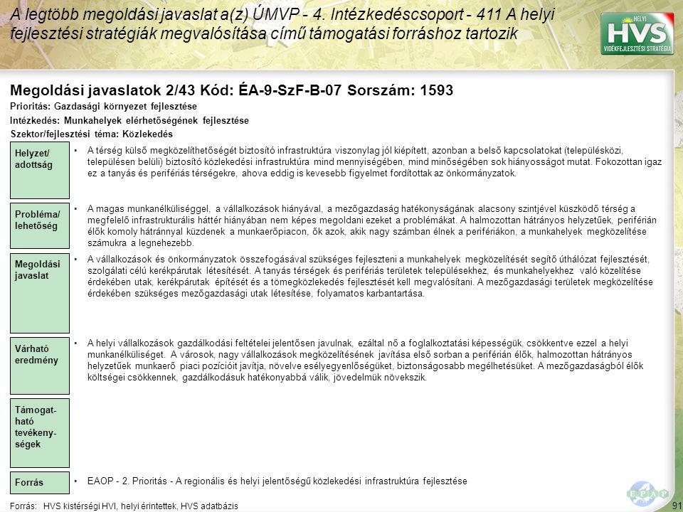 Megoldási javaslatok 2/43 Kód: ÉA-9-SzF-B-07 Sorszám: 1593