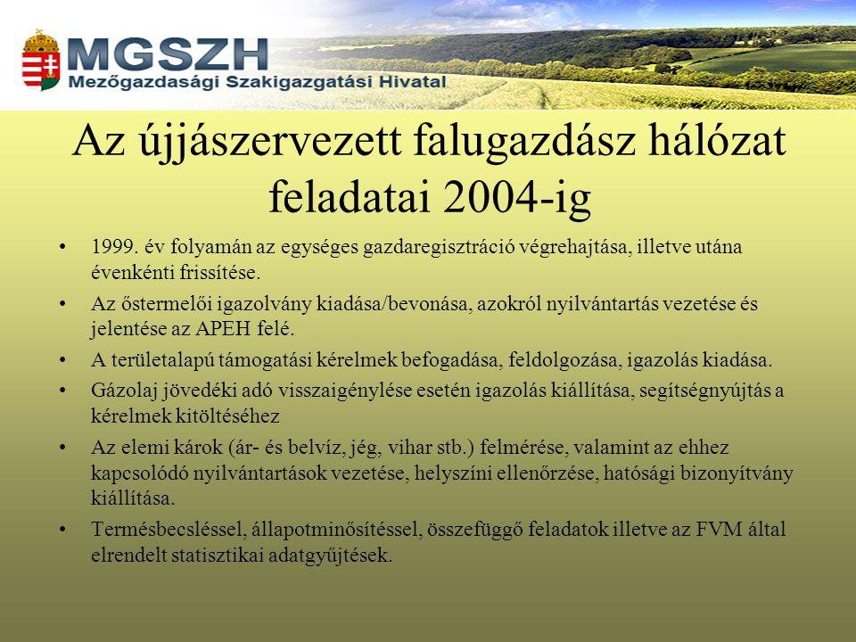 Az újjászervezett falugazdász hálózat feladatai 2004-ig