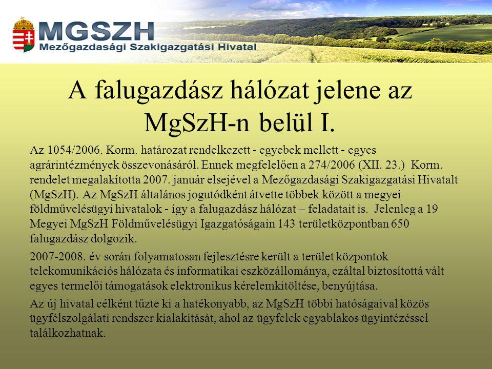 A falugazdász hálózat jelene az MgSzH-n belül I.