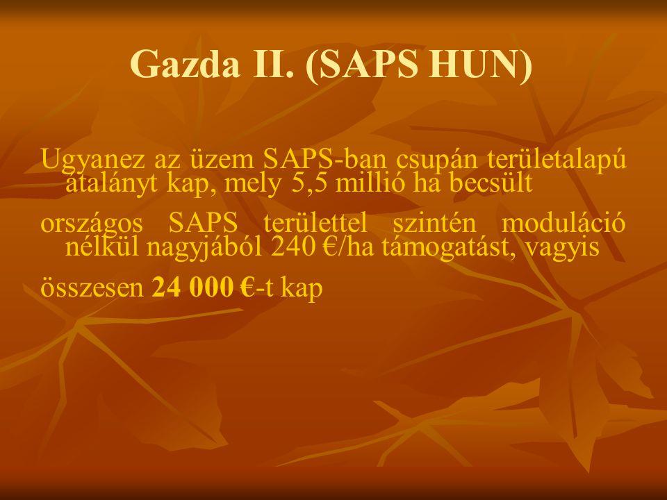 Gazda II. (SAPS HUN) Ugyanez az üzem SAPS-ban csupán területalapú átalányt kap, mely 5,5 millió ha becsült.