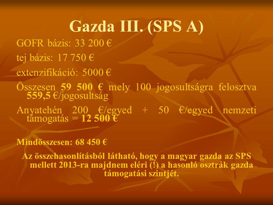 Gazda III. (SPS A) GOFR bázis: 33 200 € tej bázis: 17 750 €