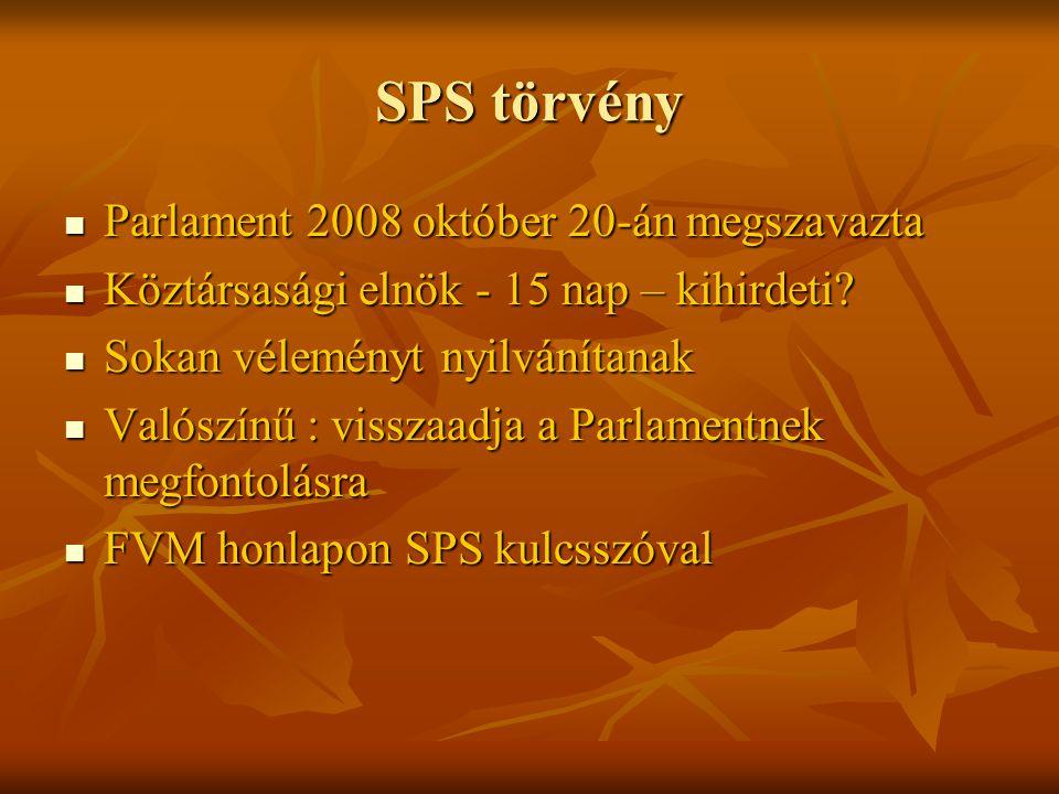 SPS törvény Parlament 2008 október 20-án megszavazta