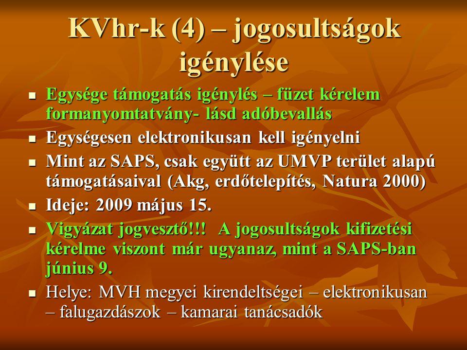 KVhr-k (4) – jogosultságok igénylése