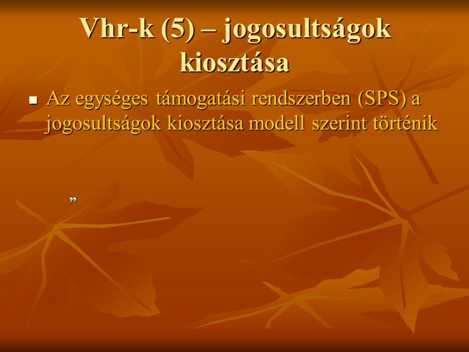 Vhr-k (5) – jogosultságok kiosztása