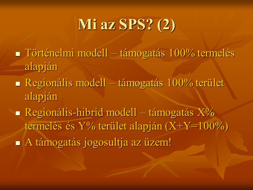 Mi az SPS (2) Történelmi modell – támogatás 100% termelés alapján