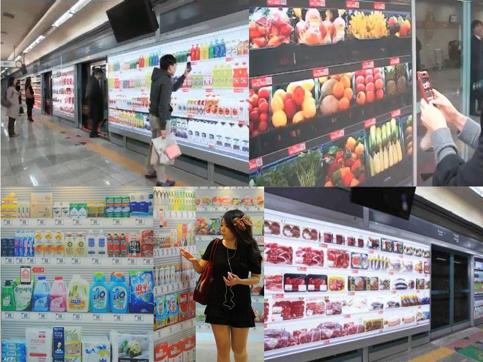 Placeless food: A szöuli metró virtuális boltjaiban a digitális polcokon álló egyedi QR kóddal ellátott termékképekre lehet leadni egy okostelefonnal a megrendelést, melyet kiszállítanak otthonába