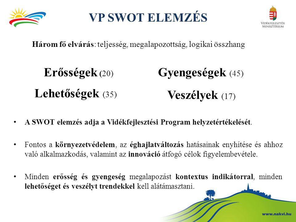 VP SWOT ELEMZÉS Erősségek (20) Gyengeségek (45) Lehetőségek (35)