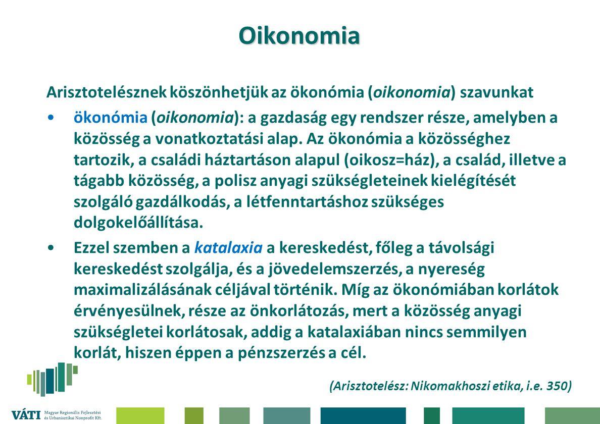 Oikonomia Arisztotelésznek köszönhetjük az ökonómia (oikonomia) szavunkat.