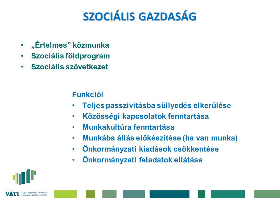 """SZOCIÁLIS GAZDASÁG """"Értelmes közmunka Szociális földprogram"""