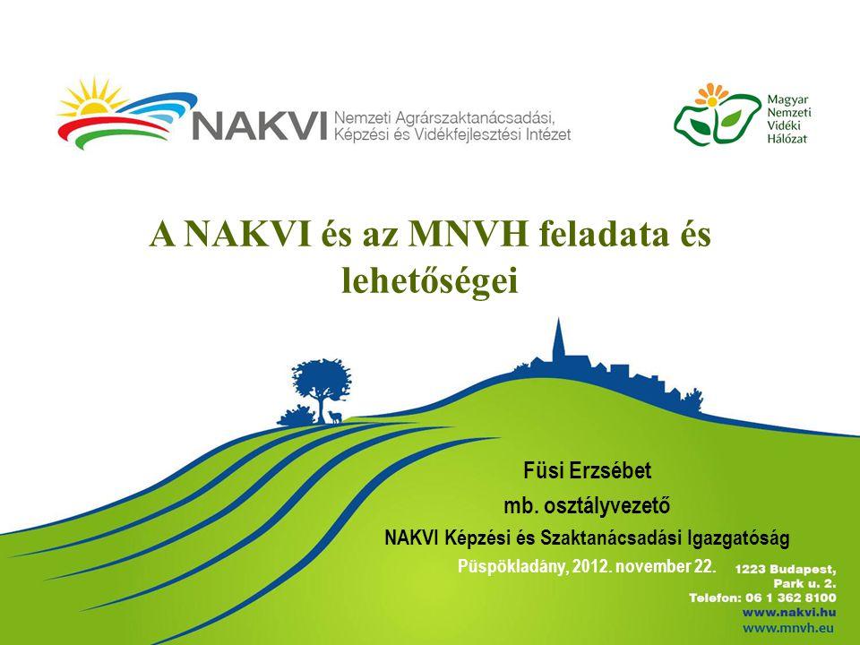 A NAKVI és az MNVH feladata és lehetőségei