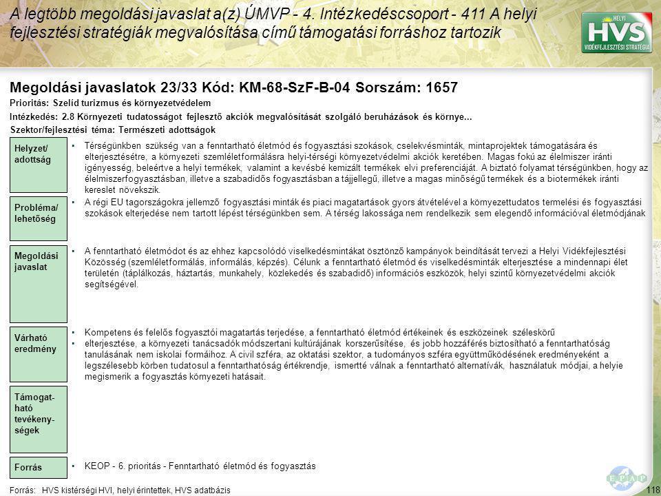 Megoldási javaslatok 23/33 Kód: KM-68-SzF-B-04 Sorszám: 1657
