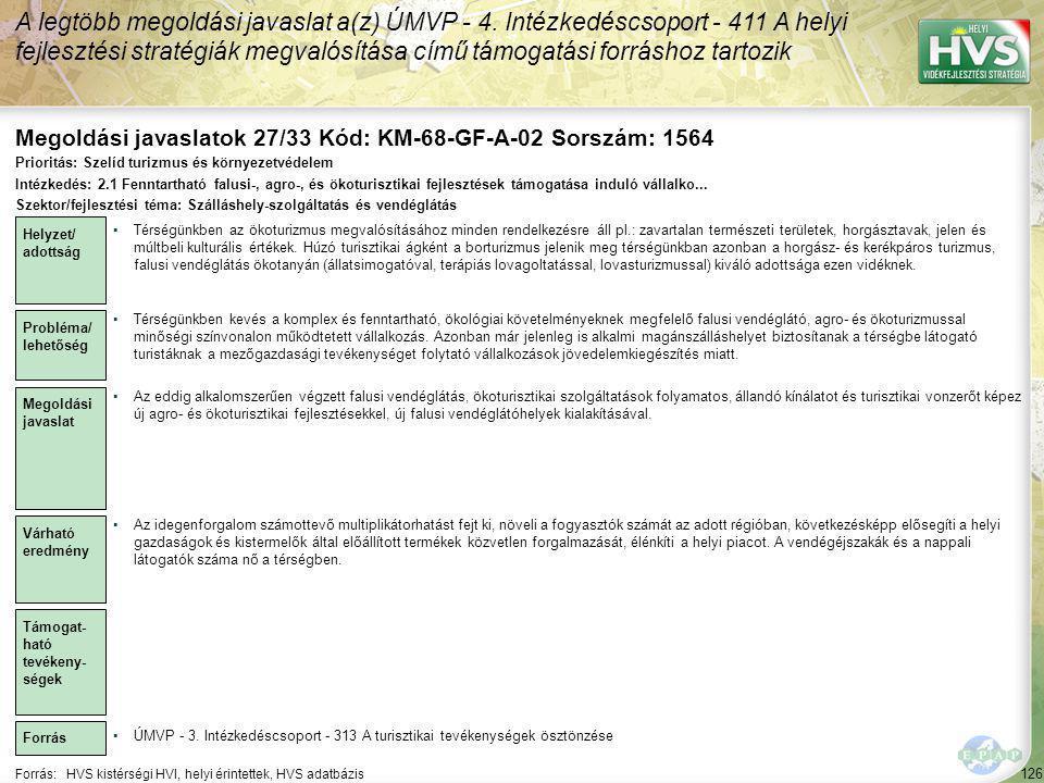 Megoldási javaslatok 27/33 Kód: KM-68-GF-A-02 Sorszám: 1564