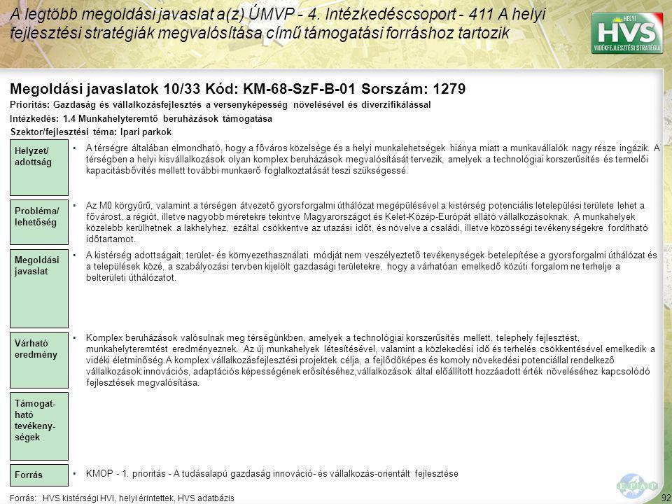 Megoldási javaslatok 10/33 Kód: KM-68-SzF-B-01 Sorszám: 1279