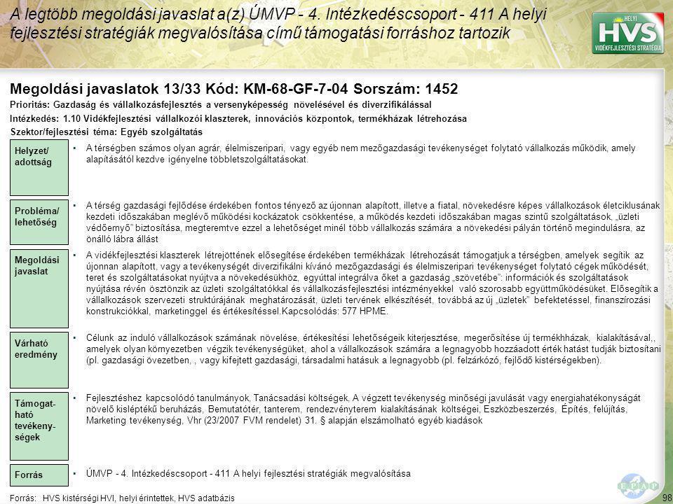 Megoldási javaslatok 13/33 Kód: KM-68-GF-7-04 Sorszám: 1452