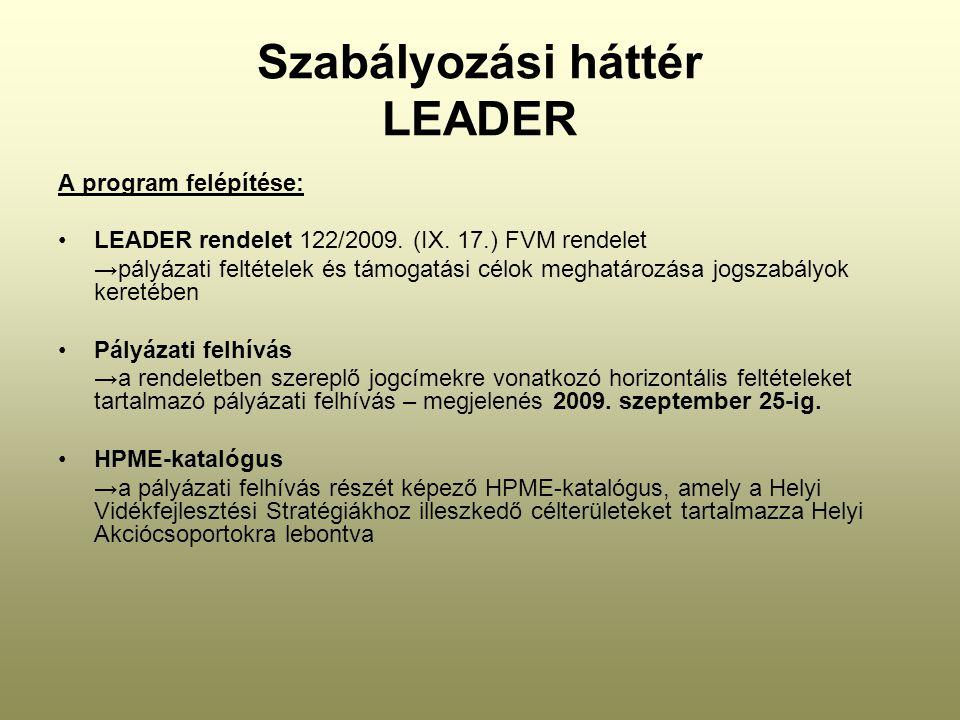 Szabályozási háttér LEADER