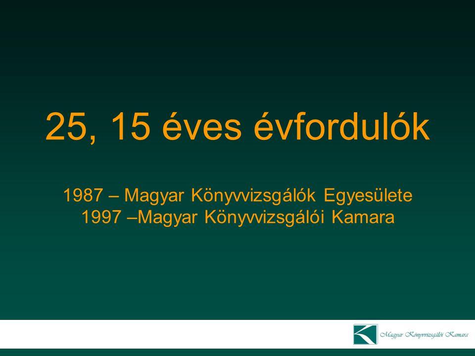 25, 15 éves évfordulók 1987 – Magyar Könyvvizsgálók Egyesülete 1997 –Magyar Könyvvizsgálói Kamara