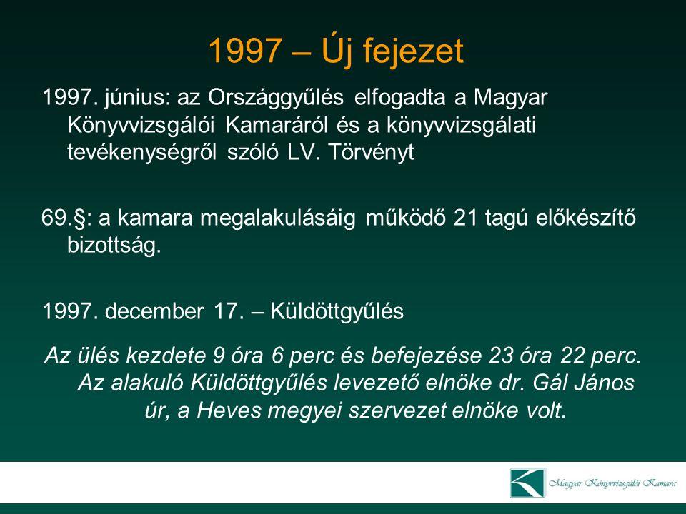 1997 – Új fejezet 1997. június: az Országgyűlés elfogadta a Magyar Könyvvizsgálói Kamaráról és a könyvvizsgálati tevékenységről szóló LV. Törvényt.
