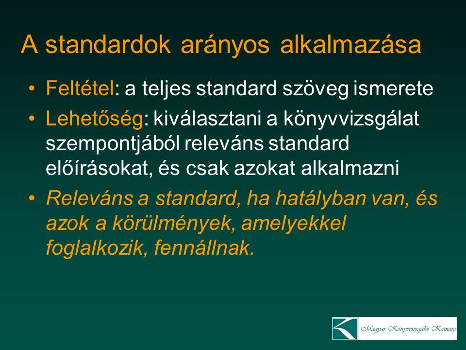 A standardok arányos alkalmazása