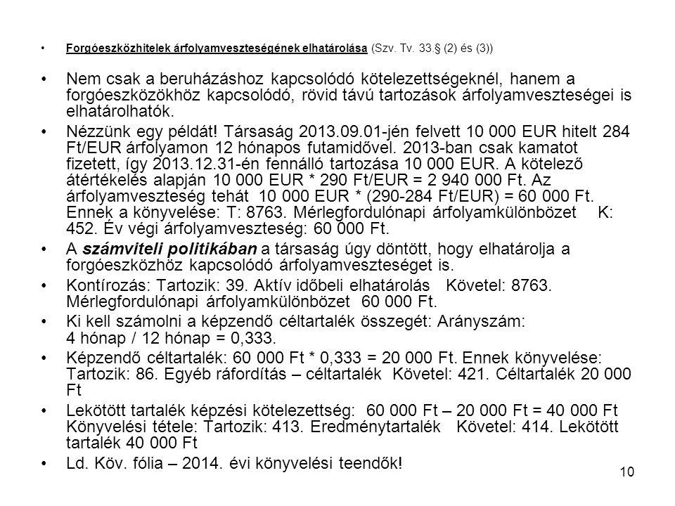 Ld. Köv. fólia – 2014. évi könyvelési teendők!