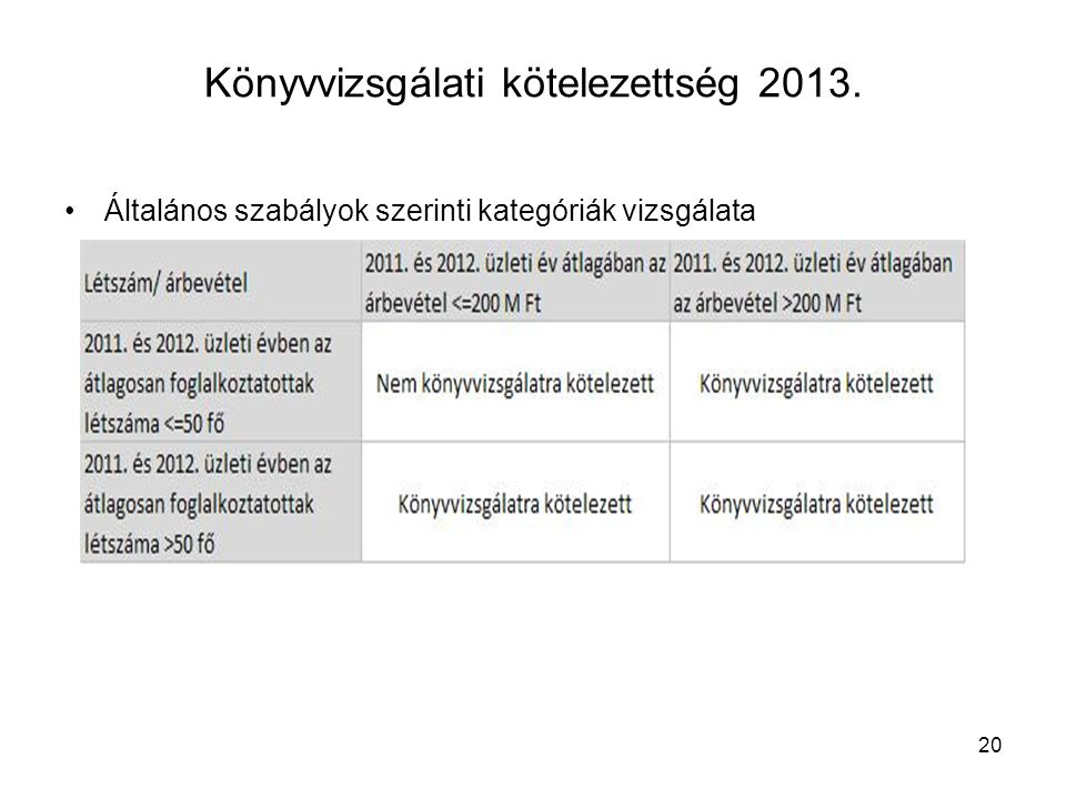 Könyvvizsgálati kötelezettség 2013.