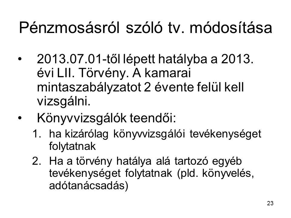 Pénzmosásról szóló tv. módosítása