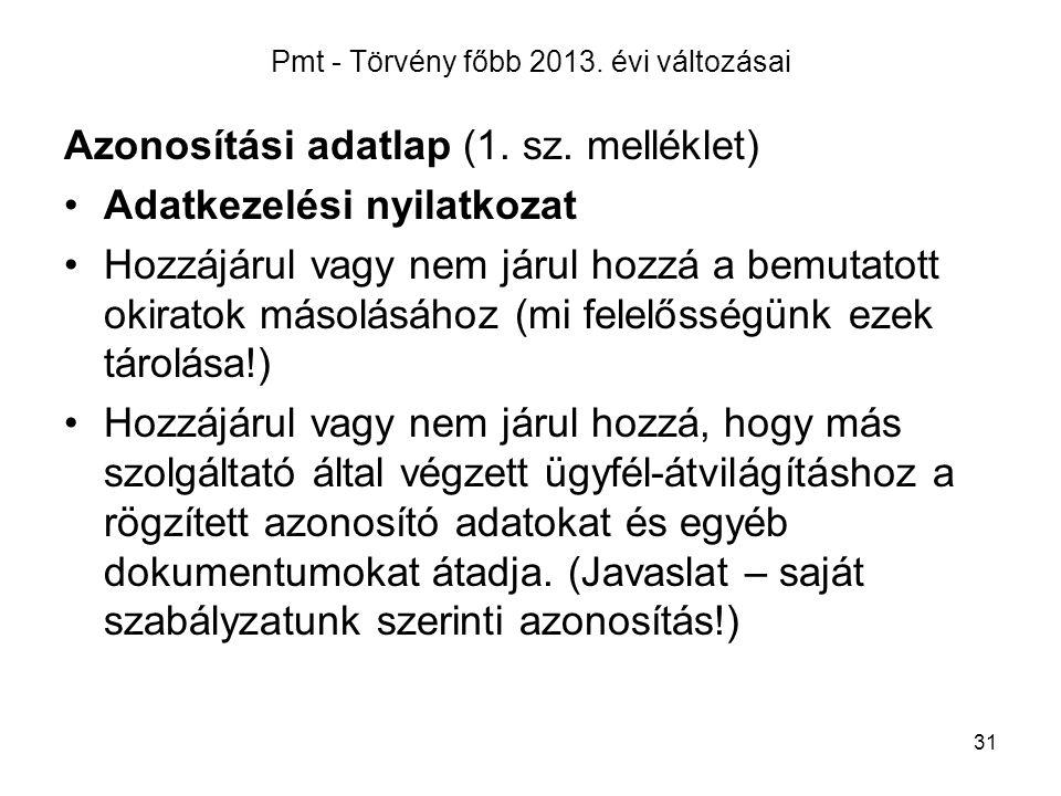 Pmt - Törvény főbb 2013. évi változásai