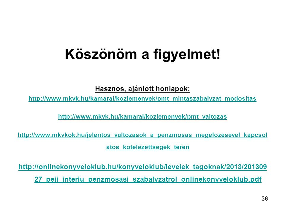 Hasznos, ajánlott honlapok: