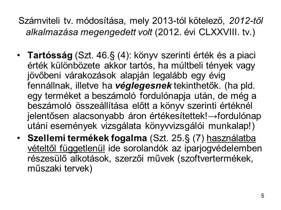 Számviteli tv. módosítása, mely 2013-tól kötelező, 2012-től alkalmazása megengedett volt (2012. évi CLXXVIII. tv.)