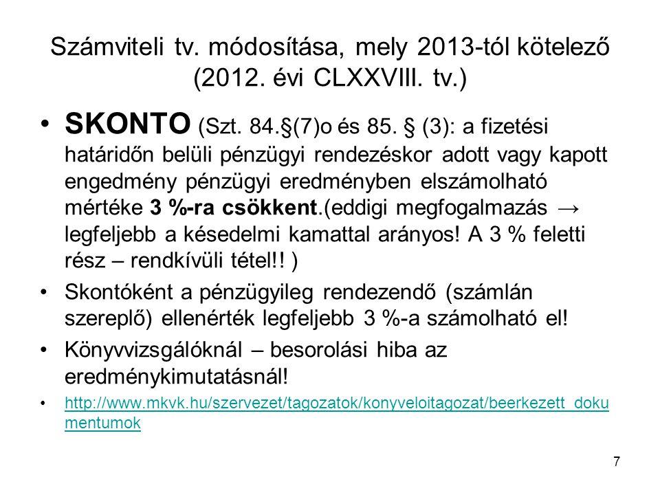 Számviteli tv. módosítása, mely 2013-tól kötelező (2012. évi CLXXVIII