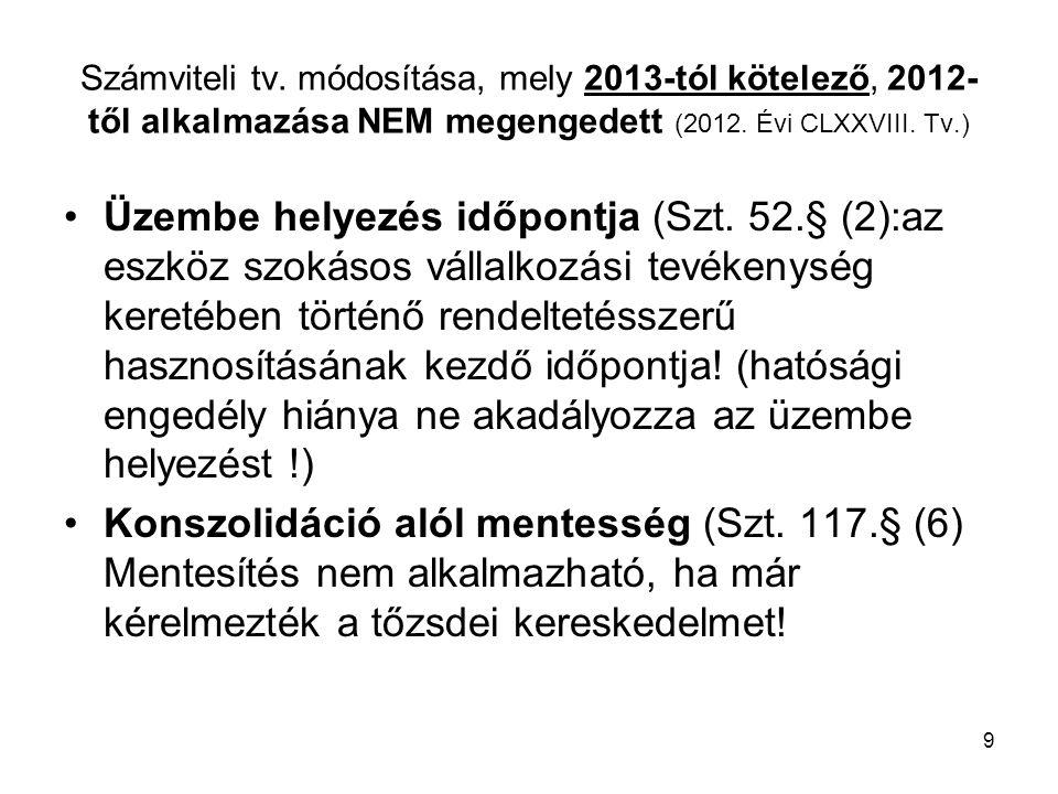 Számviteli tv. módosítása, mely 2013-tól kötelező, 2012-től alkalmazása NEM megengedett (2012. Évi CLXXVIII. Tv.)