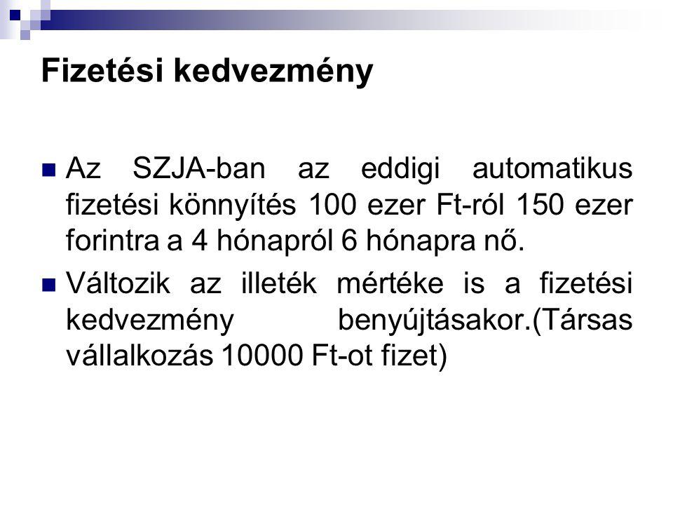 Fizetési kedvezmény Az SZJA-ban az eddigi automatikus fizetési könnyítés 100 ezer Ft-ról 150 ezer forintra a 4 hónapról 6 hónapra nő.