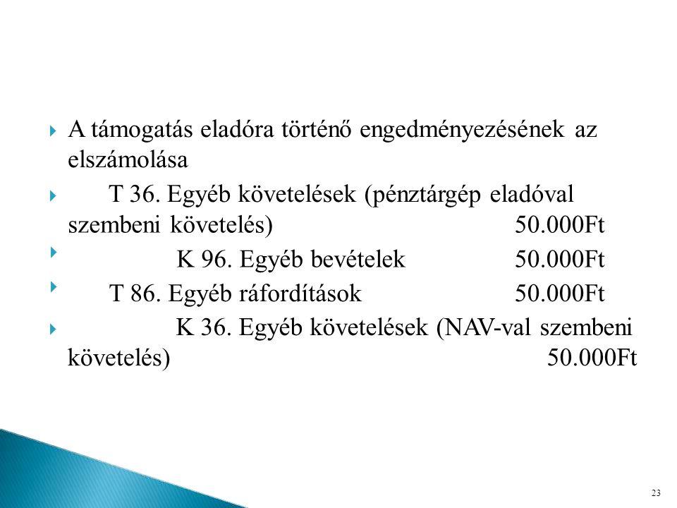 T 36. Egyéb követelések (pénztárgép eladóval szembeni követelés)