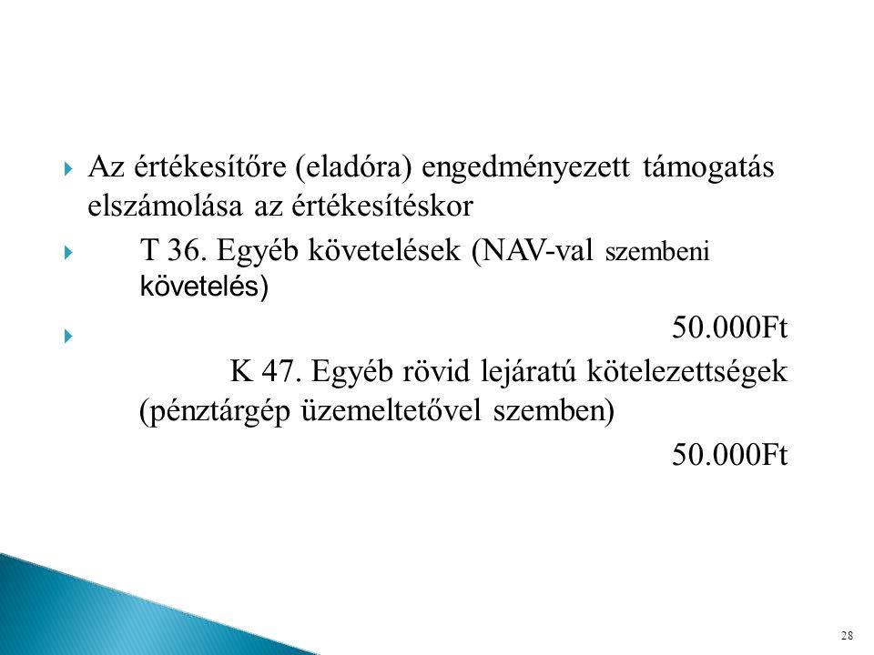 T 36. Egyéb követelések (NAV-val szembeni követelés)