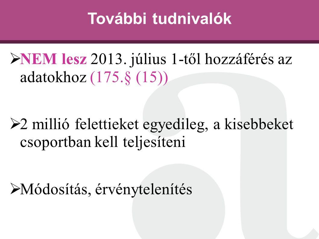 További tudnivalók NEM lesz 2013. július 1-től hozzáférés az adatokhoz (175.§ (15))
