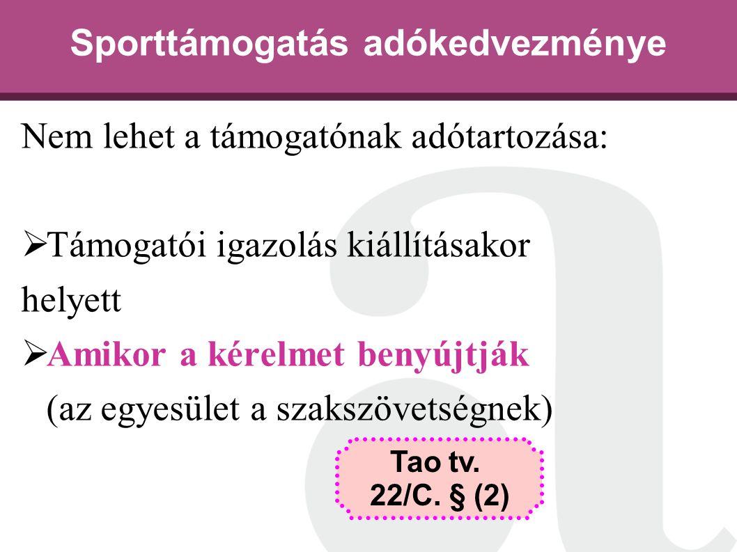 Sporttámogatás adókedvezménye