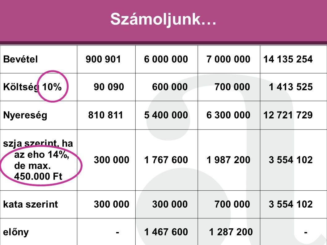 Számoljunk… Bevétel 900 901 6 000 000 7 000 000 14 135 254 Költség 10%