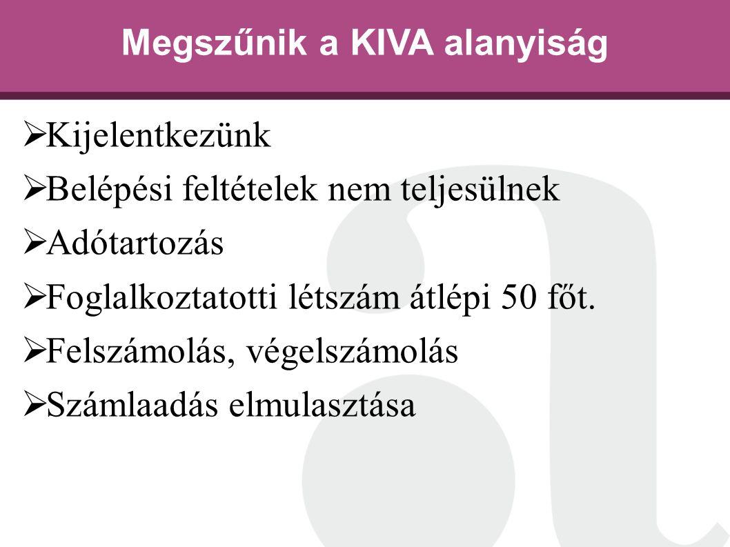 Megszűnik a KIVA alanyiság