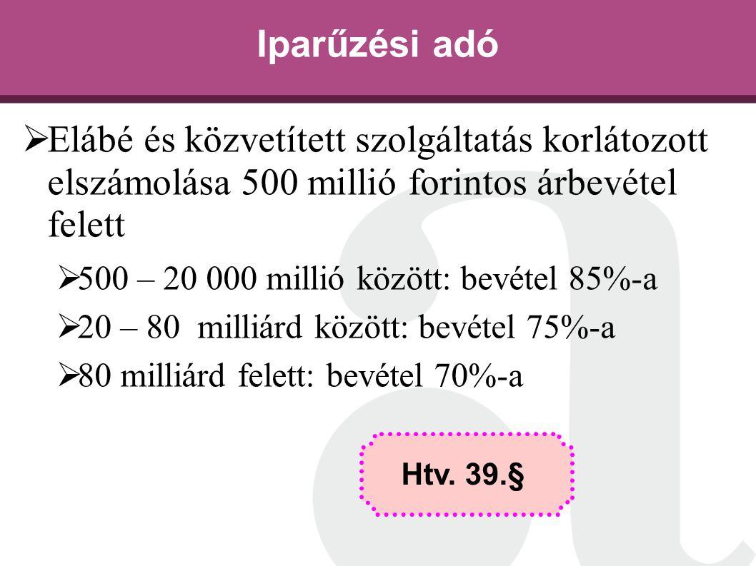Iparűzési adó Elábé és közvetített szolgáltatás korlátozott elszámolása 500 millió forintos árbevétel felett.