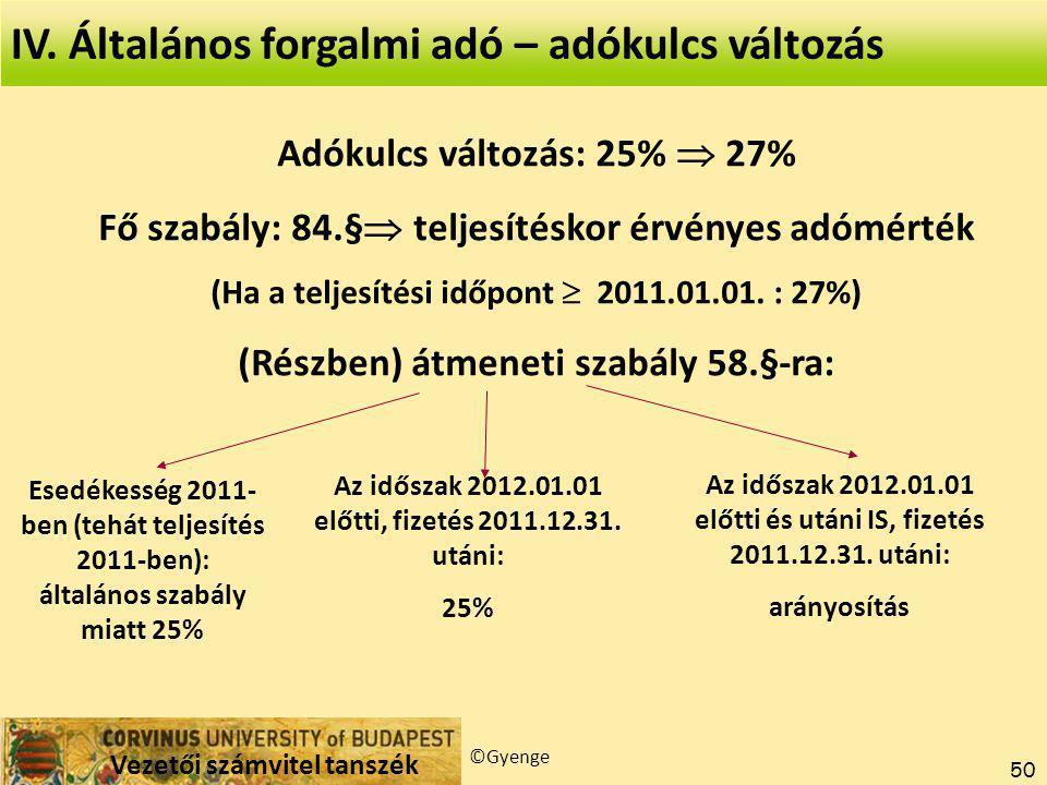 IV. Általános forgalmi adó – adókulcs változás