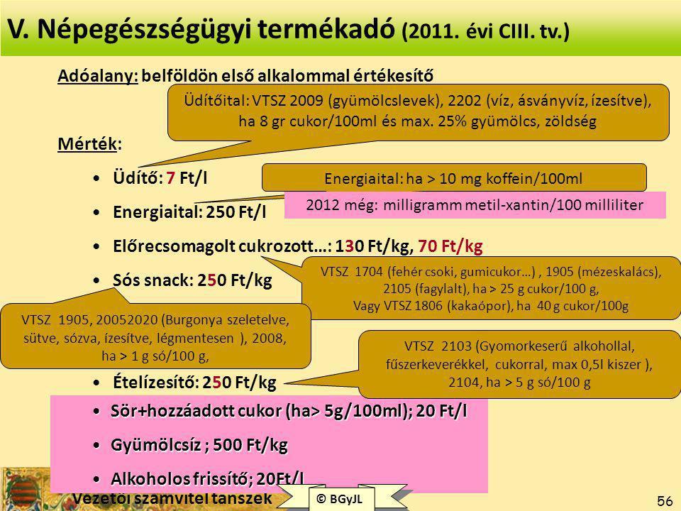 V. Népegészségügyi termékadó (2011. évi CIII. tv.)