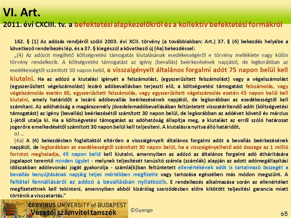 VI. Art. 2017.04.04. 2017.04.04. 2011. évi CXCIII. tv. a befektetési alapkezelőkről és a kollektív befektetési formákról.