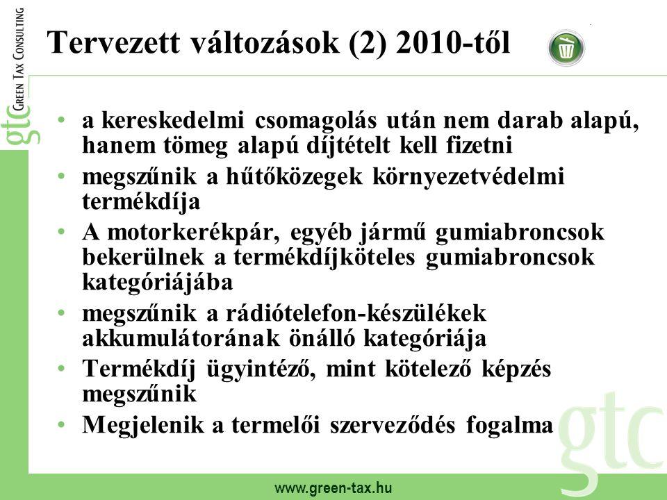 Tervezett változások (2) 2010-től