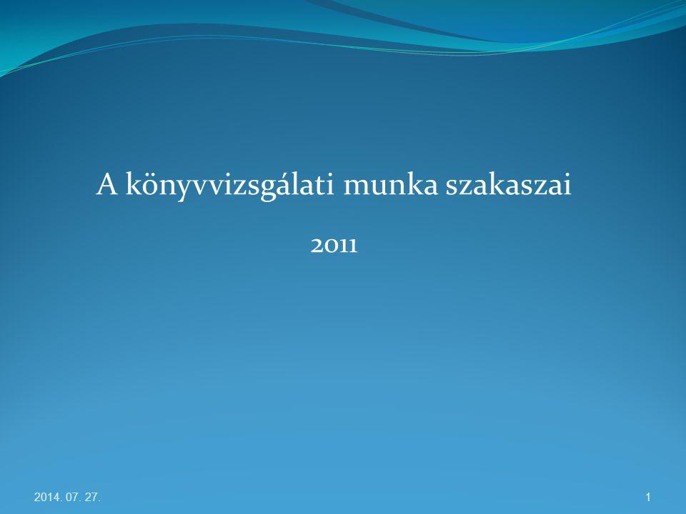 A könyvvizsgálati munka szakaszai 2011