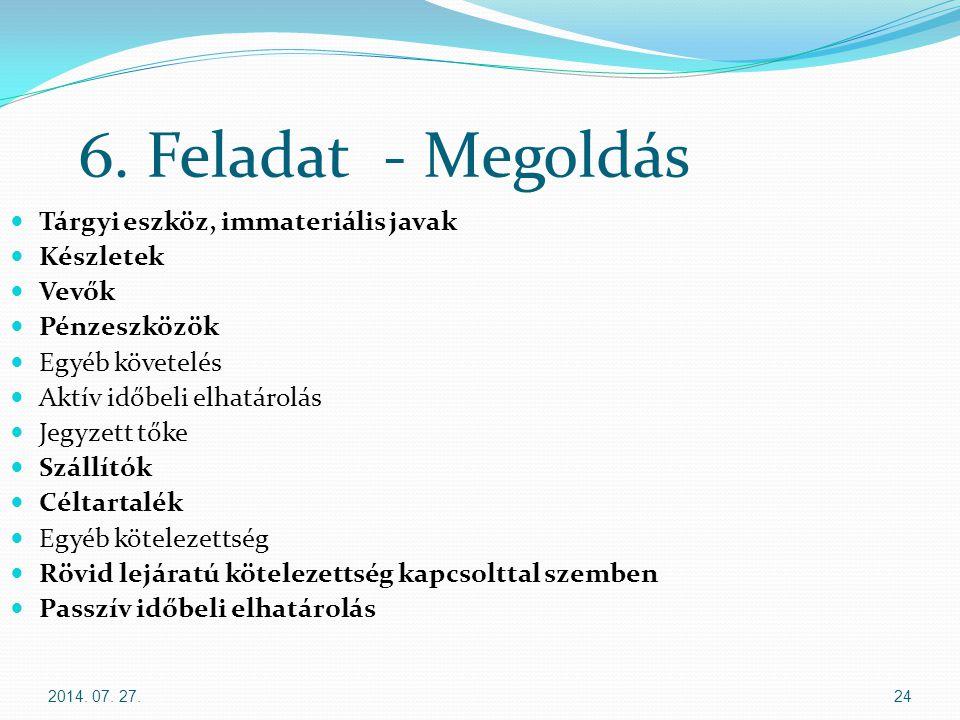 6. Feladat - Megoldás Tárgyi eszköz, immateriális javak Készletek