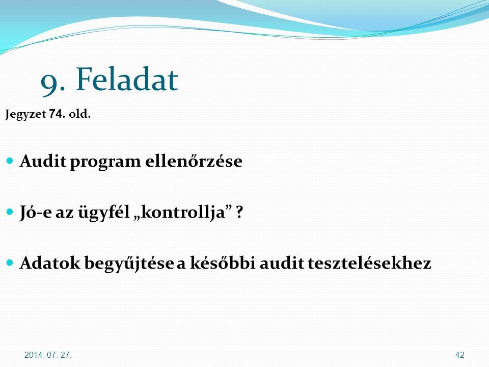 """9. Feladat Audit program ellenőrzése Jó-e az ügyfél """"kontrollja"""