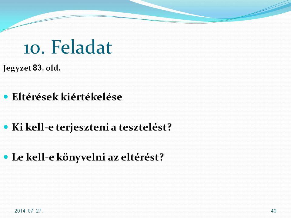 10. Feladat Eltérések kiértékelése Ki kell-e terjeszteni a tesztelést