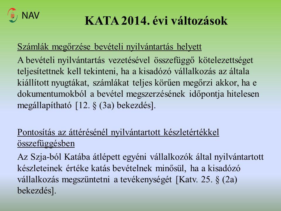 KATA 2014. évi változások
