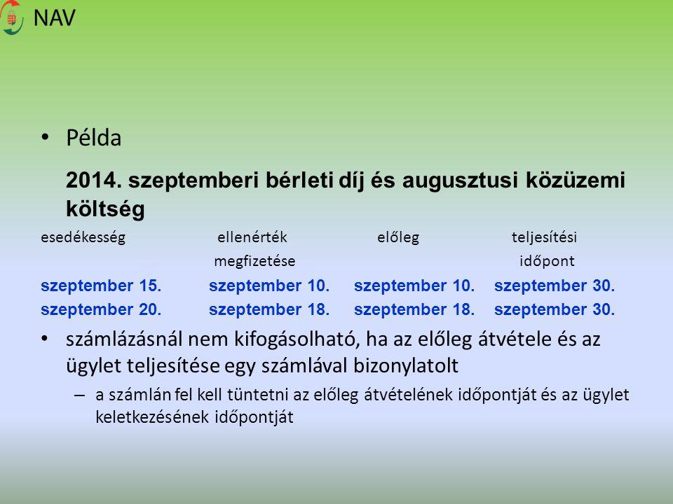 2014. szeptemberi bérleti díj és augusztusi közüzemi költség