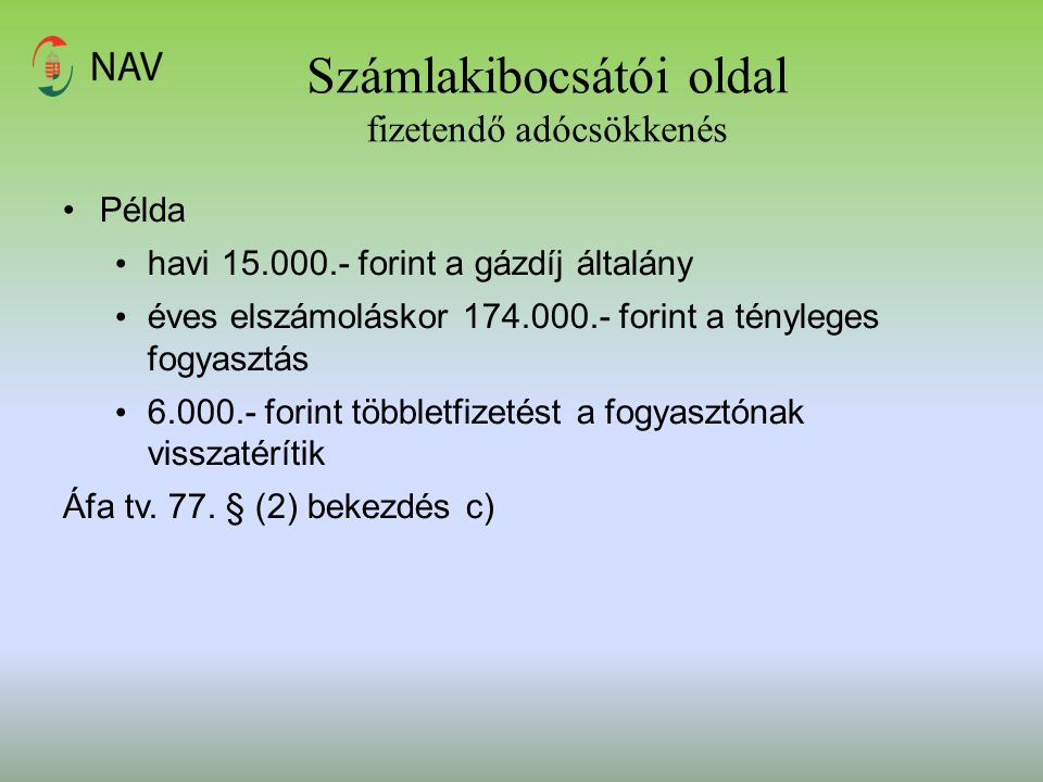 Számlakibocsátói oldal